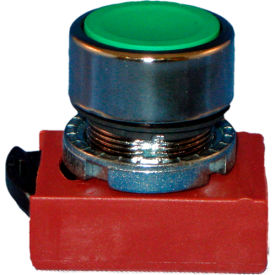 22mm push button; momentary, flush, chrome bezel, red,black,green,yellow caps, 1no-1nc contacts.