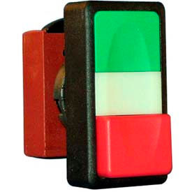 22mm double push button operator, green-red, flush top & extended bottom, no symbols, no/nccontact.