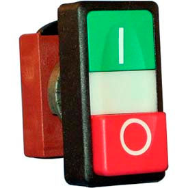 22mm Double Push Button Operator, Green-Red, Flush top & extended bottom, with symbols.