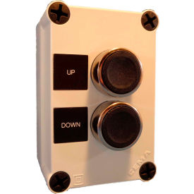22mm push button station; 2 elements, up-1no; down-1no., momentary, chrome bezel, n4x