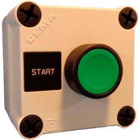 n5pex101, 22mm pushbutton station; 1 element, start (green), momentary, black bezel, 1 no, n4x