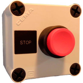 22mm Pushbutton Station; 1 Element, Stop (Red), Momentary, Black Poly Bezel, 1 NC, N4X