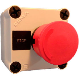 22mm Pushbutton Station; 1 Element, Mshrm Head (40mm, Red), Momentary, Black Bezel, 1NC, N4X
