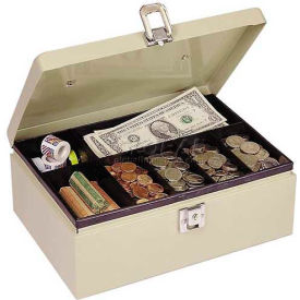 "221612003  MMF SteelMaster Cash Box w/Latch Lock 221612003, 11""W x 7-3/4""D x 4""H, Sand"