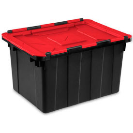 14619006 Sterilite Hinged Lid Industrial Tote 14619006- Black/Racer Red 12 Gallon 21-3/4 x 15-3/8 x 12-1/2