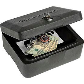 "0500FCENG SentrySafe Fire Chest 0500 with Key Lock - 12-13/16""W x 10-5/16""D x 6-1/8""H, Black"