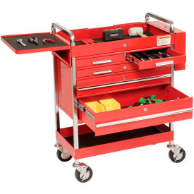 "8045 Sunex Tools 8045 27"" Professional 5 Drawer Red Tool Cart w/ Locking Top"