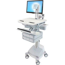 ergotron® sv44-1361-1 styleview® medical cart with lcd pivot, sla powered, 6 drawers Ergotron® SV44-1361-1 StyleView® Medical Cart with LCD Pivot, SLA Powered, 6 Drawers