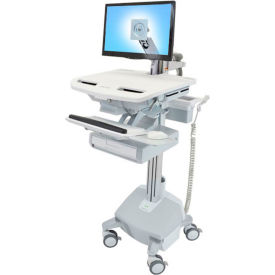 ergotron® sv44-1212-1 styleview® medical cart with lcd arm, life powered, 1 drawer Ergotron® SV44-1212-1 StyleView® Medical Cart with LCD Arm, LiFe Powered, 1 Drawer