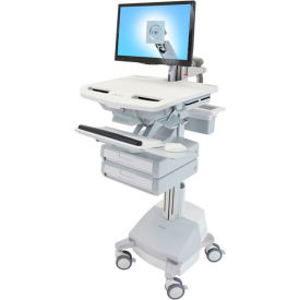ergotron® sv44-1221-1 styleview® medical cart with lcd arm, sla powered, 2 drawers  Ergotron® SV44-1221-1 StyleView® Medical Cart with LCD Arm, SLA Powered, 2 Drawers