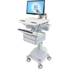ergotron® sv44-1241-1 styleview® medical cart with lcd arm, sla powered, 4 drawers Ergotron® SV44-1241-1 StyleView® Medical Cart with LCD Arm, SLA Powered, 4 Drawers