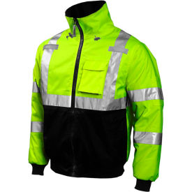 J26002.LG Tingley; J26002 Bomber Hooded Jacket, Fluorescent Yellow/Green/Black, Large
