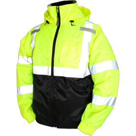 J26112.2X Tingley; J26112 Bomber II Hooded Jacket, Fluorescent Yellow/Green/Black, 2XL