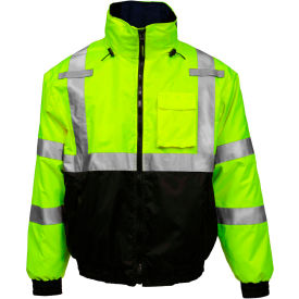 J26172.XL Tingley; Bomber 3.1; Hi-Vis Hooded Jacket, Zipper, Fluorescent Yellow/Green/Black, XL