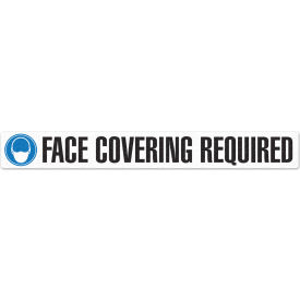 "incom face covering required floor sign, 3"" x 24"", 5 pack, adhesive vynmark"