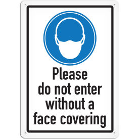 "incom please do not enter without face covering sign, vinyl, 10""x14"", adhesive vynmark"
