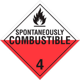 incom® ta420ps class 4.2 spontaneously combustable adhesive vinyl placard