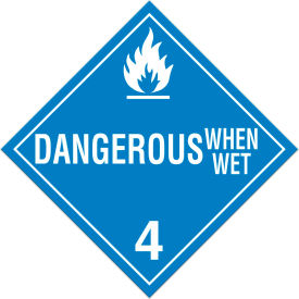incom® ta430ps class 4.3 danger when wet adhesive vinyl placard