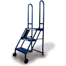 KDMF103166 3 Step Folding Rolling Ladder Stand - Perforated Tread