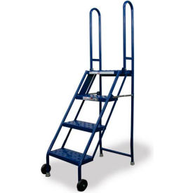 KDMF104166 4 Step Folding Rolling Ladder Stand - Perforated Tread