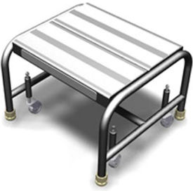 "WLAR001164 1 Step Mobile Aluminum Step Stand w/ Solid Ribbed Top Step & 16""W Platform"