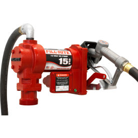 "FR1210G Fill-Rite FR1210G, DC Fuel Transfer Pump w/20"" Steel Telescoping Suction Pipe, 15 GPM, 2"" Bung Mount"