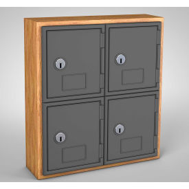 "UVQ1023 United Visual Cell Phone Locker UVQ1023 - 4 Door 12"" x 4"" x 13-1/2"" Light Oak/Grey Door w/Key Lock"