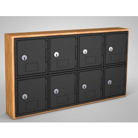 "UVQ1026 United Visual Cell Phone Locker UVQ1026 - 8 Door 24"" x 4"" x 13-1/2"" Light Oak/Black Door w/Key Lock"
