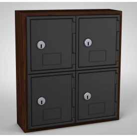 "UVQ1030 United Visual Cell Phone Locker UVQ1030 - 4 Door 12"" x 4"" x 13-1/2"" Walnut/Black Door w/Key Lock"