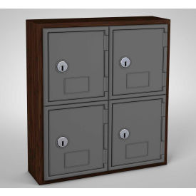 "UVQ1031 United Visual Cell Phone Locker UVQ1031 - 4 Door 12"" x 4"" x 13-1/2"" Walnut/Grey Door w/Key Lock"
