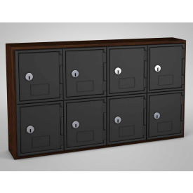 "UVQ1034 United Visual Cell Phone Locker UVQ1034 - 8 Door 24"" x 4"" x 13-1/2"" Walnut/Black Door w/Key Lock"