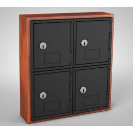 "UVQ1038 United Visual Cell Phone Locker UVQ1038 - 4 Door 12"" x 4"" x 13-1/2"" Cherry/Black Door w/Key Lock"
