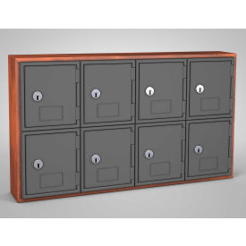 "UVQ1043 United Visual Cell Phone Locker UVQ1043 - 8 Door 24"" x 4"" x 13-1/2"" Cherry/Grey Door w/Key Lock"