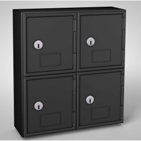 "UVQ1046 United Visual Cell Phone Locker UVQ1046 - 4 Door 11"" x 4"" x 12-1/2"" Black/Black Door w/Key Lock"