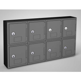 "UVQ1052 United Visual Cell Phone Locker UVQ1052 - 8 Door 22"" x 4"" x 12-1/2"" Black/Grey Door w/Key Lock"