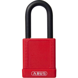 abus 74/40 keyed alike lockout padlock, 1-1/2-inch non-conductive shackle, red, 06755
