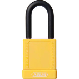 abus 74/40 keyed alike lockout padlock, 1-1/2-inch non-conductive shackle, yellow, 06757