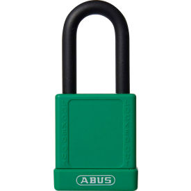 abus 74/40 keyed alike lockout padlock, 1-1/2-inch non-conductive shackle, green, 06759