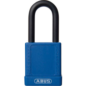 abus 74/40 keyed alike lockout padlock, 1-1/2-inch non-conductive shackle, blue, 06765