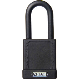 abus 74/40 keyed different lockout padlock, 1-1/2-inch non-conductive shackle, black, 09800