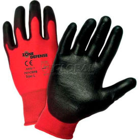 701CRPB/XL Zone Defense; Red Nylon Shell Coated Gloves, Black Poly Palm Coat, XL