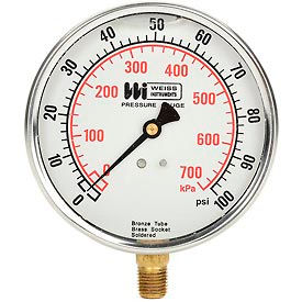 "LF441-100-4L 4"" dial , liquid filled, 1/4"" bottom, 0-100PSI"