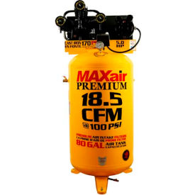 C5180V1-MAP MaxAir C5180V1-MAP, 5 HP, Single-Stage Comp, 80  Gal, Vertical, 170 PSI, 18.5 CFM, 1-Phase 208-230V