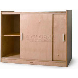 "sliding doors laminated storage cabinet, 41""w x 20""d x 32""h, natural Sliding Doors Laminated Storage Cabinet, 41""W x 20""D x 32""H, Natural"