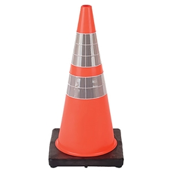 "DW Series Traffic Cone, 28"" w/ 4"" & 6"" Reflective Collars, 7 lb"