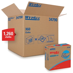 WypAll* X60 Wipers, Pop-Up Box, White, 10 Boxes/126 ea
