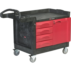 "Rubbermaid® TradeMaster® Mobile Cart, 49""L x 38""H x 26 3/16""W, Black"