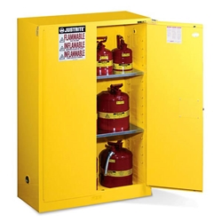 "Justrite® Sure-Grip® EX Safety Cabinets w/ Self-Closing Doors, 45 gal, 65""H x 43""W x 18""D, IFC, 2 Shelves"
