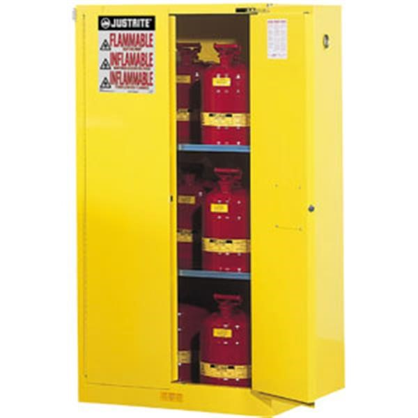 "Justrite® Sure-Grip® EX Safety Cabinets w/ Self-Closing Doors, 60 gal, 65""H x 34""W x 34""D, IFC, 2 Shelves"