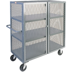 "Jamco Mesh Security Truck, 3 Shelves, 57""H x 48""W x 30""D"